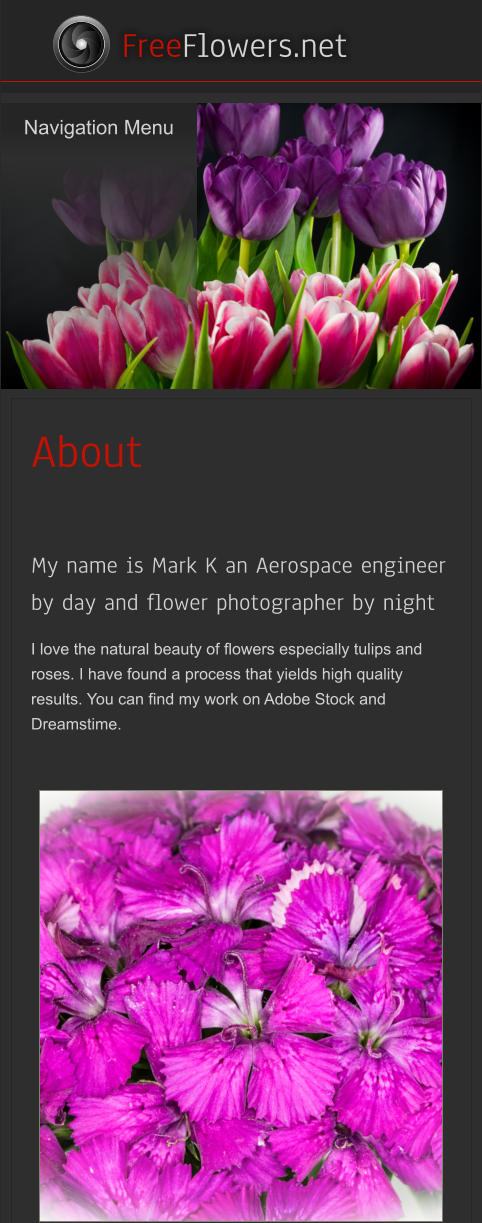 Navigation Menu    FreeFlowers.net About  My name is Mark K an Aerospace engineer by day and flower photographer by night  I love the natural beauty of flowers especially tulips and roses. I have found a process that yields high quality results. You can find my work on Adobe Stock and Dreamstime. Navigation Menu